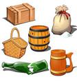 box barrel sack basket broken bottle and mug vector image vector image