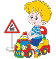 Boy on a toy train vector image vector image