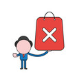 businessman character holding shopping bag with x vector image vector image