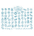 christmas doodle elements clipart vector image