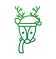 christmas reindeer with hat and scarf decoration vector image vector image