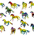 colorful silhouettes horses seamless background vector image vector image