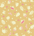 cupcakes tea cups background vector image vector image