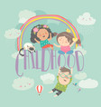 cute children with rainbow happy childhood vector image vector image