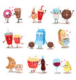 cute funny food and drink characters set best vector image vector image