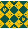 Diamond Chessboard Yellow Green Heart Valentine vector image vector image