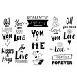 doodle lettering set about love vector image vector image