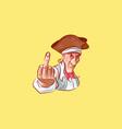emoji sticker captain mascot show middle finger vector image vector image