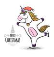 fantasy skating unicorn christmas card vector image vector image