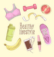 female healthy lifestyle hand drawn fitness vector image vector image
