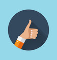 flat design thumbs up icon background vector image vector image