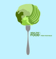 fork with a lettuce healthy food concept vector image