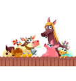 funny farm animals smiling near the fence vector image vector image