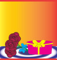 gift box and bouquet of flowers vector image vector image