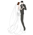 Hand drawn bride and groom vector image
