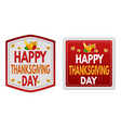 happy thanksgiving day stickers set vector image