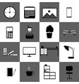 home office workspace technology web icon set vector image vector image
