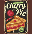 homemade cherry pie vintage sign vector image vector image