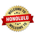 honolulu 3d gold badge with red ribbon vector image vector image