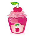 Jar of cherry jam vector image