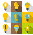 light bulb icons set flat style vector image vector image