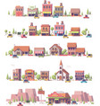 low poly 2d small town scenes vector image vector image