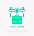 medicine drone delivery thin line icon vector image