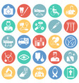 medicine icon set on color circles background vector image