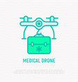 mediine drone delivery thin line icon vector image