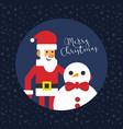 merry christmas santa with snowman card vector image