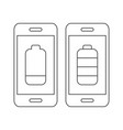 mobile phone with empty battery sign and mobile vector image