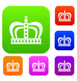 monarchy crown set color collection vector image vector image