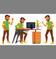 office indian worker emotions gestures vector image