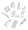 Pills drugs and medical icons sketches vector image vector image
