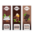 realistic cocoa products vertical banners vector image