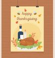 roasted turkey wine candle foliage hanging happy vector image vector image