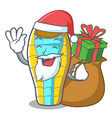 santa with gift sleeping bad mascot cartoon vector image