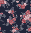 Seamless floral pattern with outline roses vector image vector image