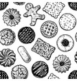 Seamless pattern with different tasty cookies
