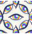 seamless pattern with rainbow colored eyes flag vector image vector image