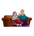 senior man and woman talking mobile phone vector image