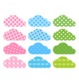 Set blue green clouds of fabric with different vector image