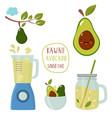set funny kawaii avocado with a blender vector image