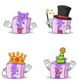 set of gift character with crazy magician king vector image vector image