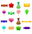 set single cartoon candies lollipop candy vector image