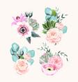 set vintage pastel flowers and leaves vector image