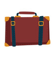 traveling baggage suitcase with belts isolated vector image