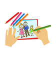 two hands coloring with pencil a coloring book vector image
