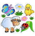 various happy spring animals vector image vector image