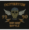 Vintage label with skull for hip-hop design vector image vector image